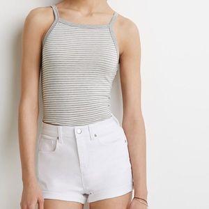 Highwaisted White Denim Shorts